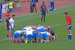 Rugby scrum. A big scrum in the rbs rugby match italy vs france played at rome. 11/3/2017 Stock Photography