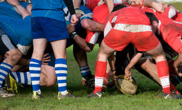 Rugby scrum in panoramic view. Rugby teams  scrum in panoramic view Stock Image
