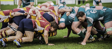 The Rugby Scrum. The power of the rugby scrum Royalty Free Stock Photos