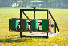 Rugby scrum training tool. On sport field Royalty Free Stock Photo