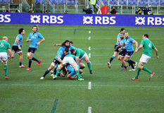 A rugby scrum. A wild scrum during the rbs six nations rugby match italy vs ireland played at rome.7/2/15 Stock Photos