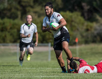 Rugby Sevens Action. Rugby action at the Mount Shasta Sevens tournament in Northern California stock images