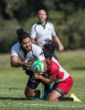 Rugby Sevens Action. Rugby action at the Mount Shasta Sevens tournament in Northern California stock photo