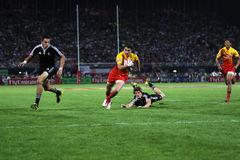 Rugby Sevens Action Try Royalty Free Stock Image