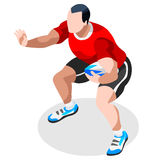 Rugby Sevens Summer Games Icon Set.3D Isometric Player Athlete.Olympics Sporting Championship International Rugby Competition. Sport Infographic Rugby Sevens Royalty Free Stock Photography