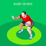 Rugby Sevens Summer Games Icon Set.3D Isometric Player Athlete. Sporting Championship International Rugby Competition.Sport Infographic Rugby Sevens Vector Royalty Free Stock Images