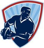 Rugby-Spieler, der das Ball-Schild Retro- führt vektor abbildung