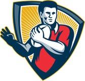 Rugby-Spieler-laufendes Ball-Schild Retro- stock abbildung