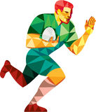 Rugby-Spieler wehren weg niedriges Polygon ab Stockbilder