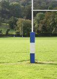 Rugby Sports Field Posts. Rugby field with padded goal posts Stock Photos