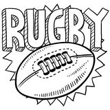 Rugby sports sketch. Doodle style rugby sports illustration. Includes text and ball Royalty Free Stock Image