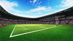 Rugby stadium with fans and grass pitch at daylight Stock Images