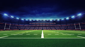 Rugby stadium with fans and green grass playground Royalty Free Stock Photo