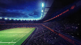 Rugby stadium with fans under roof tribune view Royalty Free Stock Photos