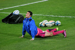Rugby Steyn Stretching Bulls South Africa 2012 Royalty Free Stock Images