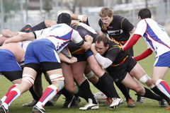 Rugby struggle between Czech and Belgium team Stock Images