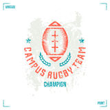Rugby team ball emblem Royalty Free Stock Images