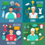 Rugby, tennis, volleyball, golf sport icons Royalty Free Stock Photo