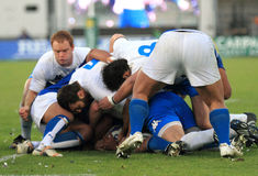 Rugby test match Italy vs Samoa; ruck Stock Photo