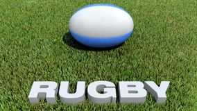 Rugby texte 3D and ball on grass. 3D render Stock Image