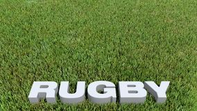 Rugby texte 3D on grass. 3D render Royalty Free Stock Photos