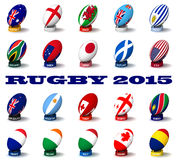 Rugby 2015. Three dimensional render of the flags and names of the nations participating in Rugby 2015 stock illustration