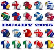 Rugby 2015. Three dimensional render of the flags and names of the nations participating in Rugby 2015 vector illustration