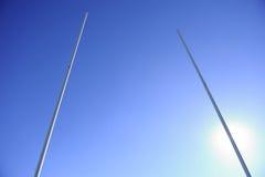 Rugby-Torpfosten-Hintergrundbeleuchtung Stockfotos