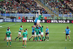 Rugby touche. A line-out during the international rbs 6 championship match italy-ireland played at rome.7/2/2015 Royalty Free Stock Image