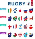 Rugby 2019, toutes les piscines et drapeau de tournoi de rugby illustration libre de droits