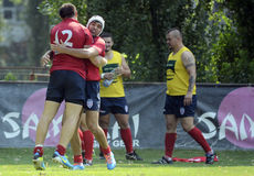 Rugby try celebration Royalty Free Stock Image