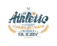 Rugby typographic emblem with shabby texture Royalty Free Stock Photography