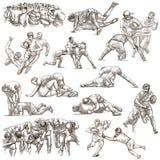 RUGBY - Uma coleção a mão livre tirada mão Linha bloco da arte de algum Imagem de Stock Royalty Free