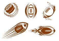 Rugby- und Fußballmaskottchen Lizenzfreie Stockbilder