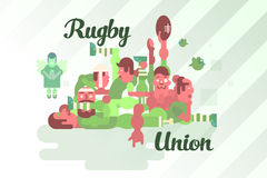 Rugby union players in a scrum Royalty Free Stock Images