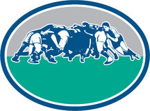Rugby Union Scrum Oval Retro Stock Images