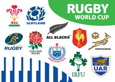 Rugby Union World Cup Team Emblems Logos Stock Images