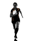 Rugby woman player silhouette Royalty Free Stock Photography