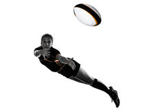 Rugby woman player silhouette Royalty Free Stock Photo