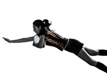 Rugby woman player silhouette Stock Photo