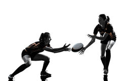 Rugby women players silhouette. Rugby women players team in silhouette isolated on white backround Stock Photo