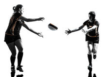 Rugby women players silhouette. Rugby women players team in silhouette isolated on white backround Royalty Free Stock Photography