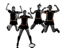 Rugby women players team silhouette. Rugby women players team celebration in silhouette isolated on white backround Royalty Free Stock Photography