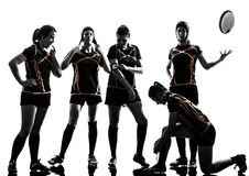 Rugby women players team silhouette. Rugby women players team in silhouette isolated on white backround Royalty Free Stock Photo