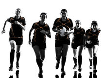 Rugby women players team silhouette royalty free stock image