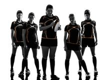 Rugby women players team silhouette Royalty Free Stock Photography