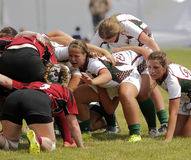 Rugby Women Scrum. A scrum between New Brunswick and Newfoundland women at the Eastern Canadian Rugby Championships July 10, 2015 in Belleisle, Canada Stock Photo