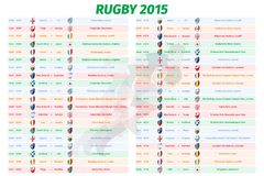 Rugby World Cup Games Schedule. Team and timetable, time and date, graph group, sport championship royalty free illustration