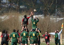 Rugby Zeile-heraus Stockfoto