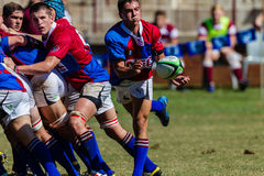 Spieler-Ball Gedränge-Hälfte Rugby Framesby Lizenzfreies Stockfoto